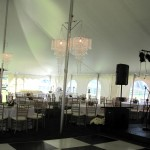 Inside Tent Chandalier Black White Dance Floor