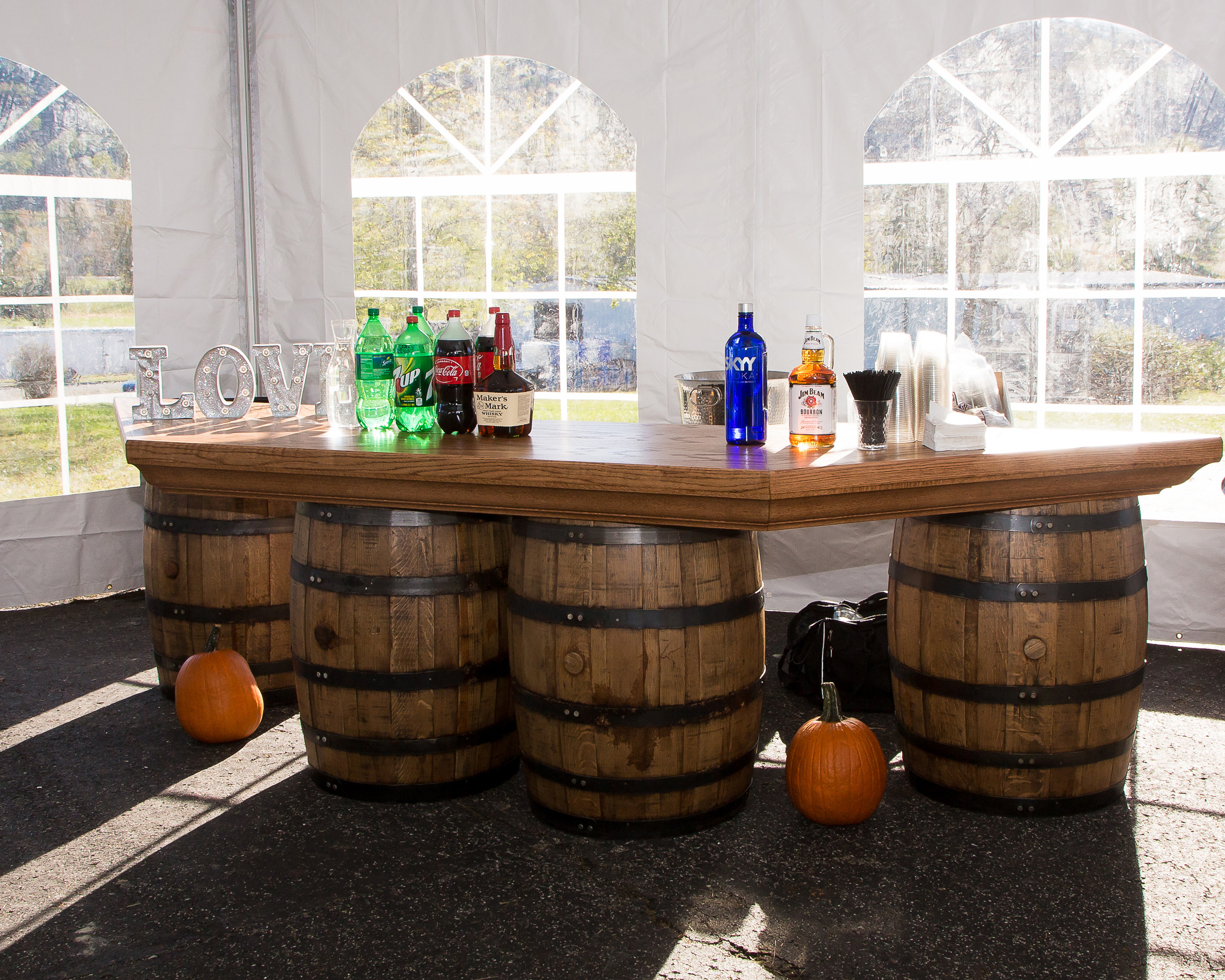 Tent Rental Accessories Tables Chairs Flooring  : Whiskey Barrel Bar from mhtentrentals.com size 3000 x 2400 jpeg 2331kB